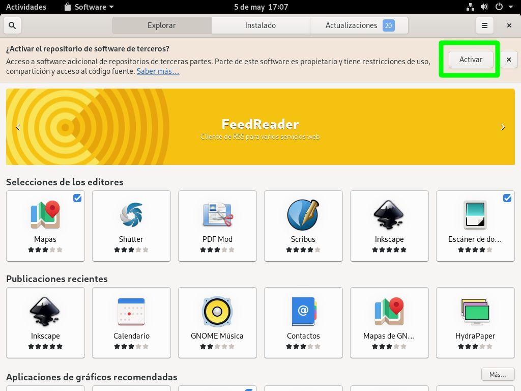 Activar los repositorios para el software de terceros en Fedora 32 Workstation
