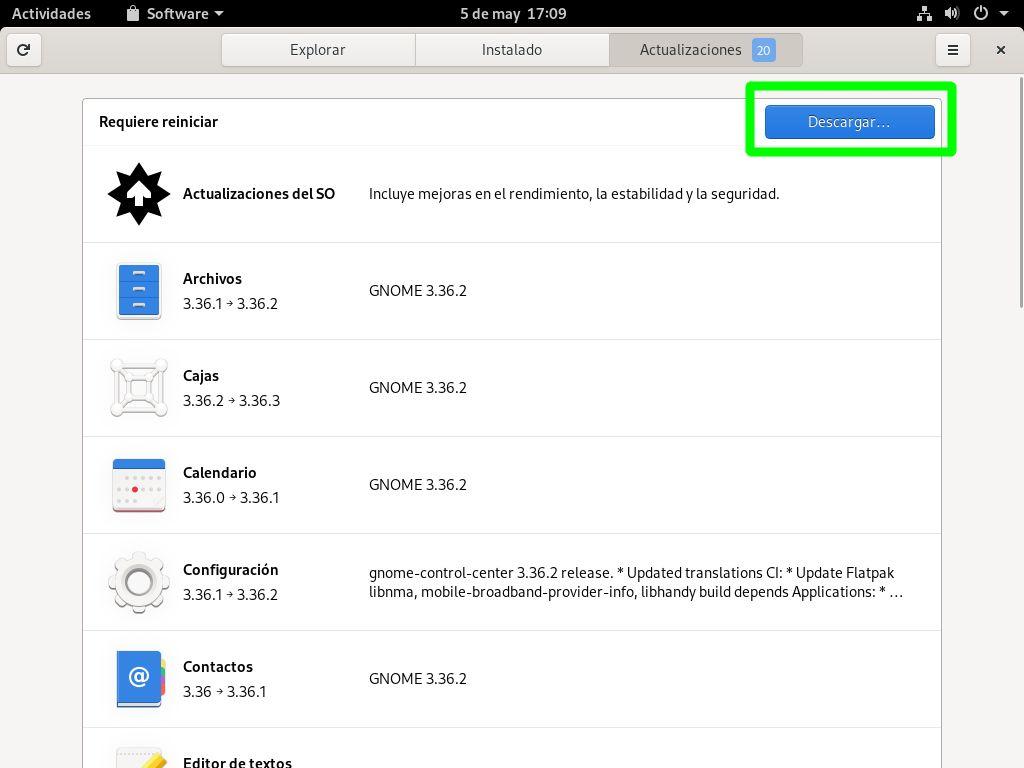 Primera actualización de Fedora 32 Workstation