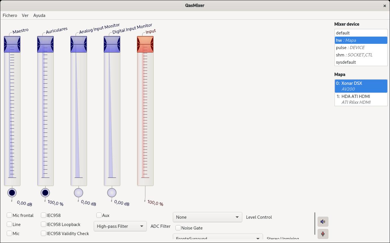 Configurando una Xonar DSX con QasMixer