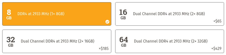 Opciones de RAM del Oryx Pro de System76
