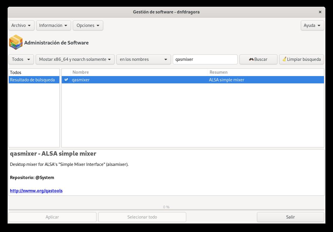 QasMixer en los repositorios de Fedora