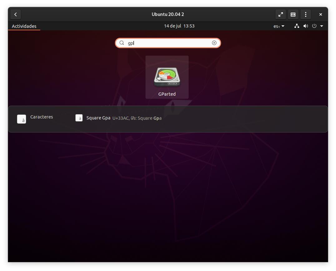 Iniciar GParted en Ubuntu 20.04