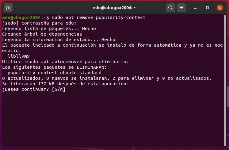 desinstalando popularity-contest de Ubuntu