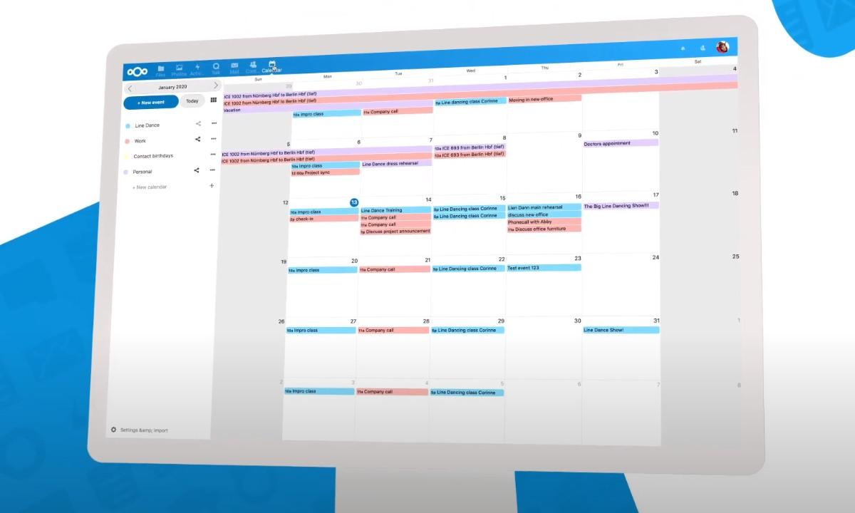 nextcloud - calendario y tareas