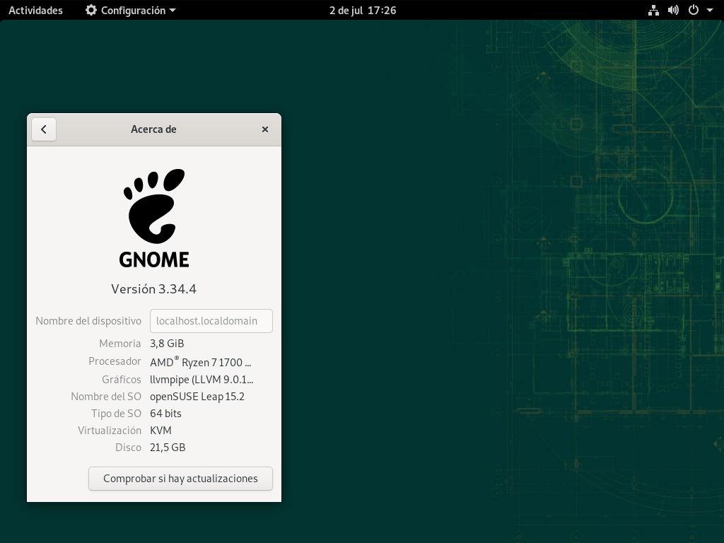 openSUSE Leap 15.2 con GNOME