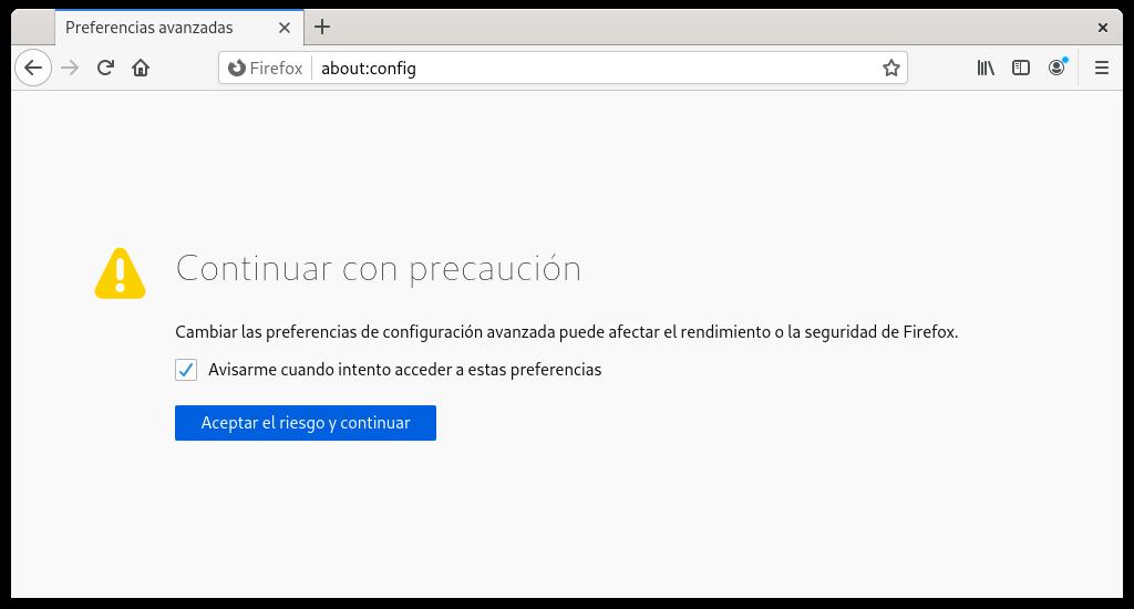 Acceder a la sección about:config de Firefox