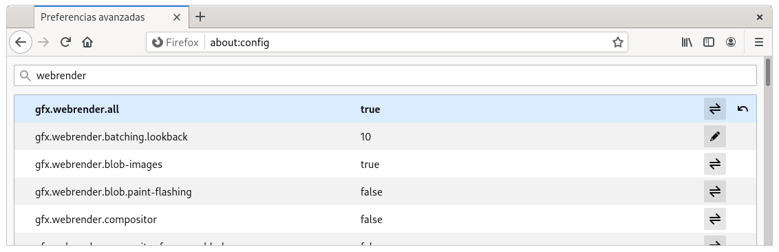 Activar WebRender en Firefox