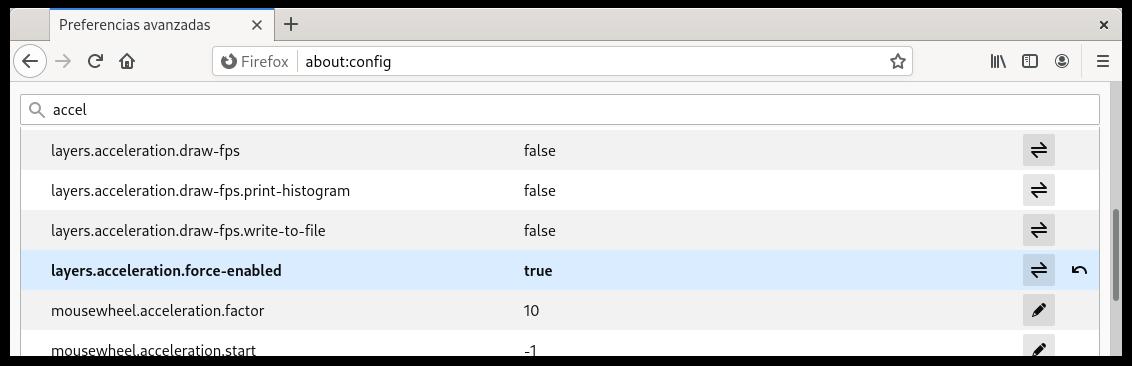 Forzar la aceleración por hardware en Firefox