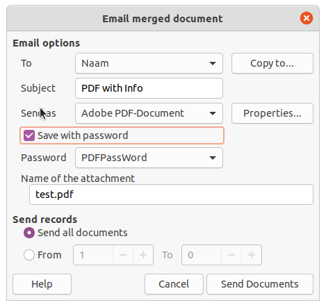 Exportando un fichero PDF cifrado con Mail Mager en Collabora Office 6.4