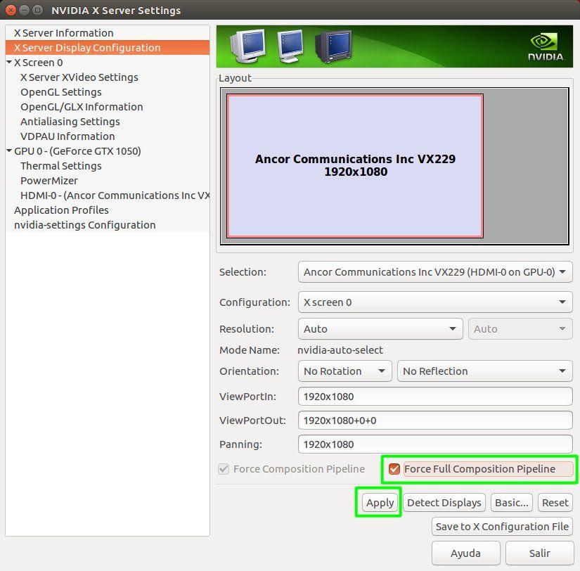 Habilitar el Full Composite Pipeline en NVIDIA Linux