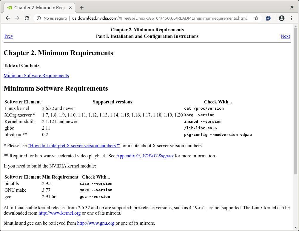 Requisitos de sistema para instalar el driver de NVIDIA en Linux