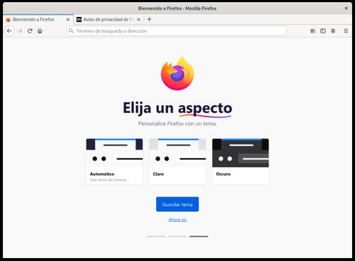asistente de inicio de Firefox 80