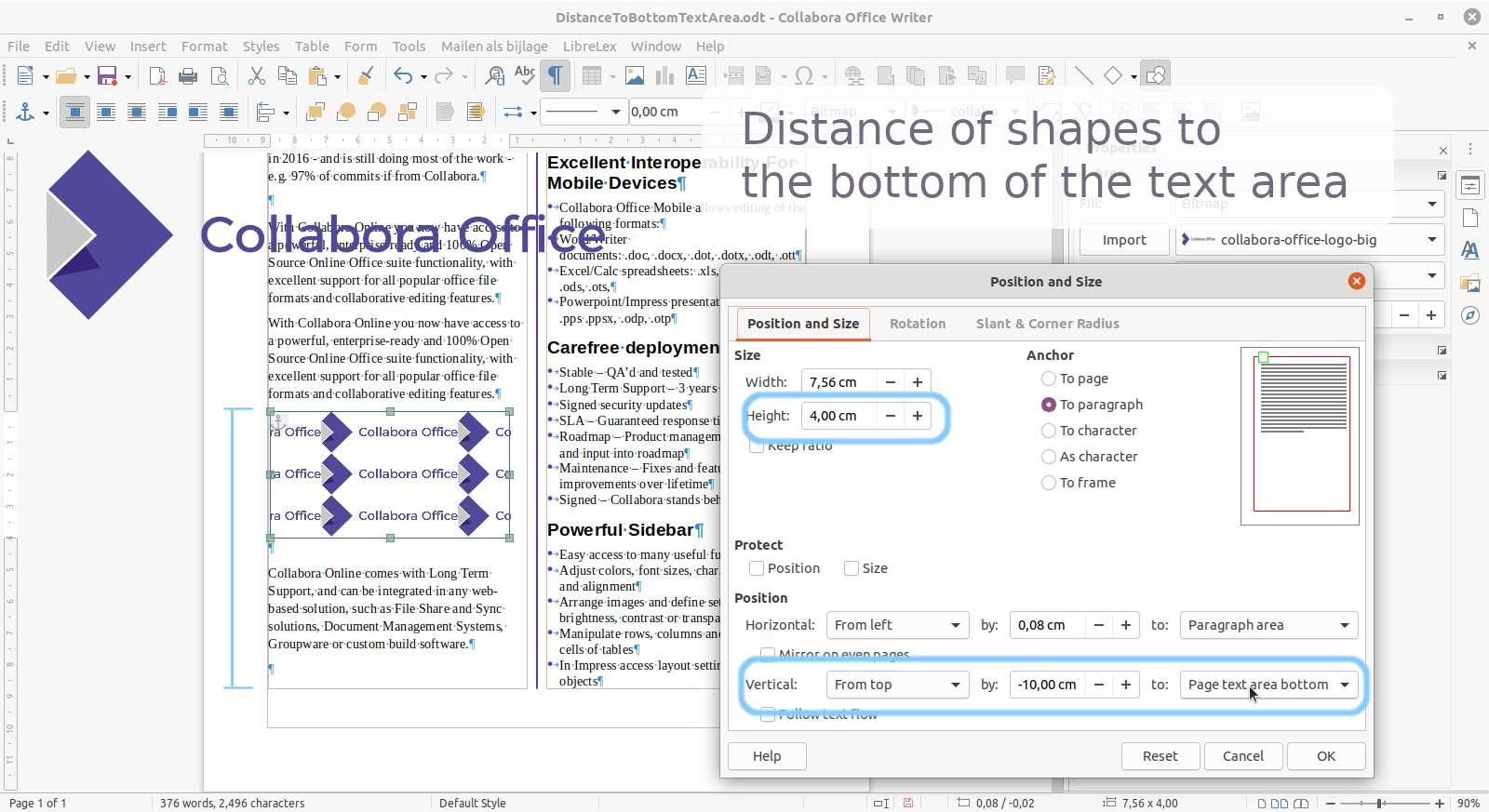 establecer una distancia de las formas con respecto a la parte inferior de la página en Collabora Office 6.4