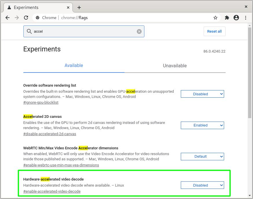 Soporte de aceleración por hardware de Chrome 86 para Linux