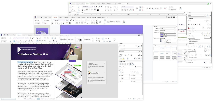 Apariencia de Writer, Calc e Impress en Collabora Online 6.4