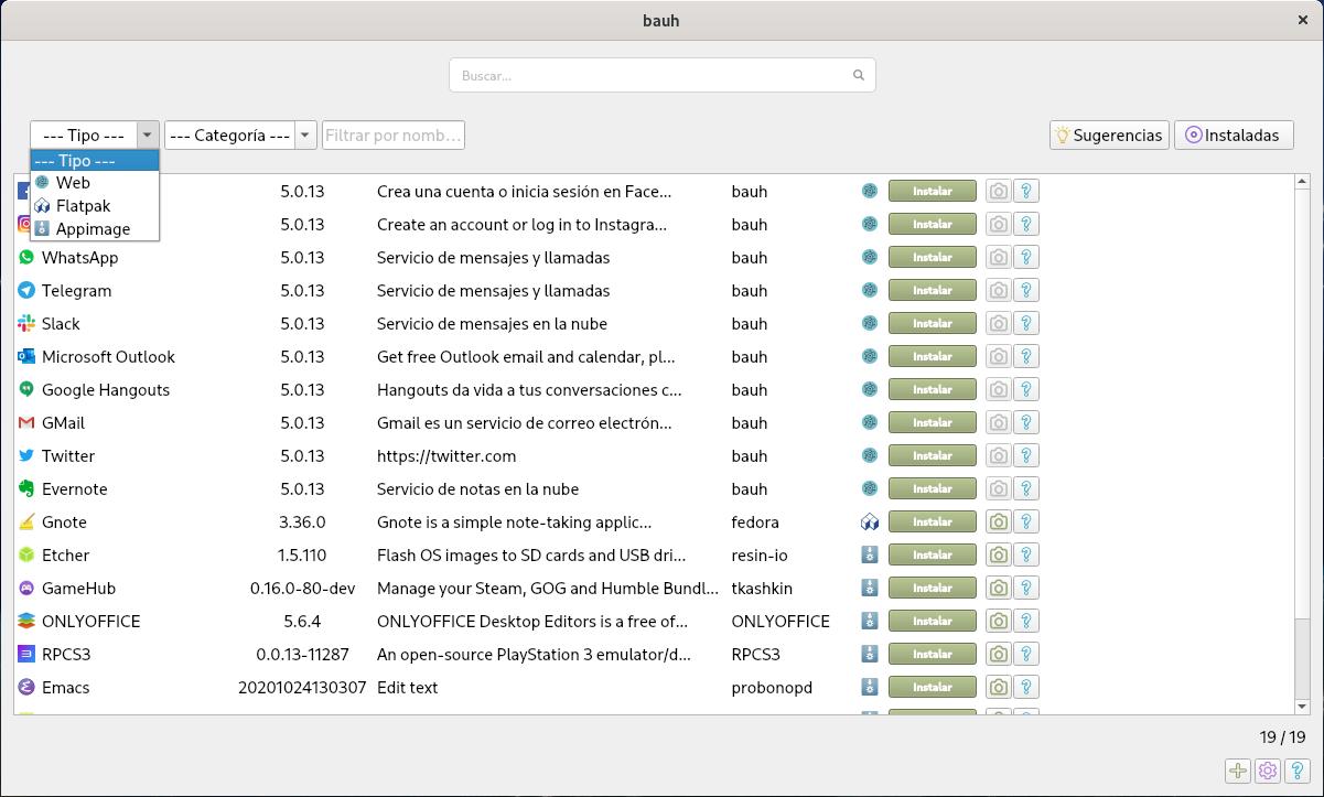 Bauh en Fedora 33 Workstation