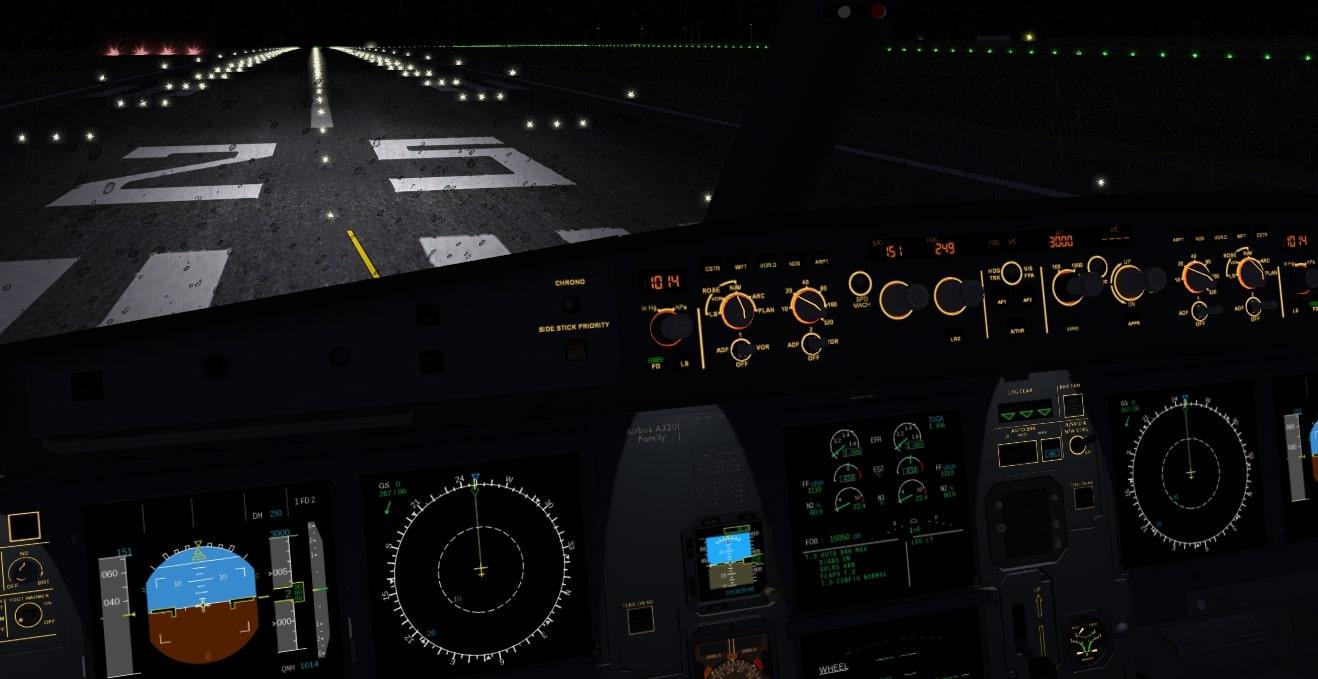 Interior del Airbus A320 en FlightGear 2020.3