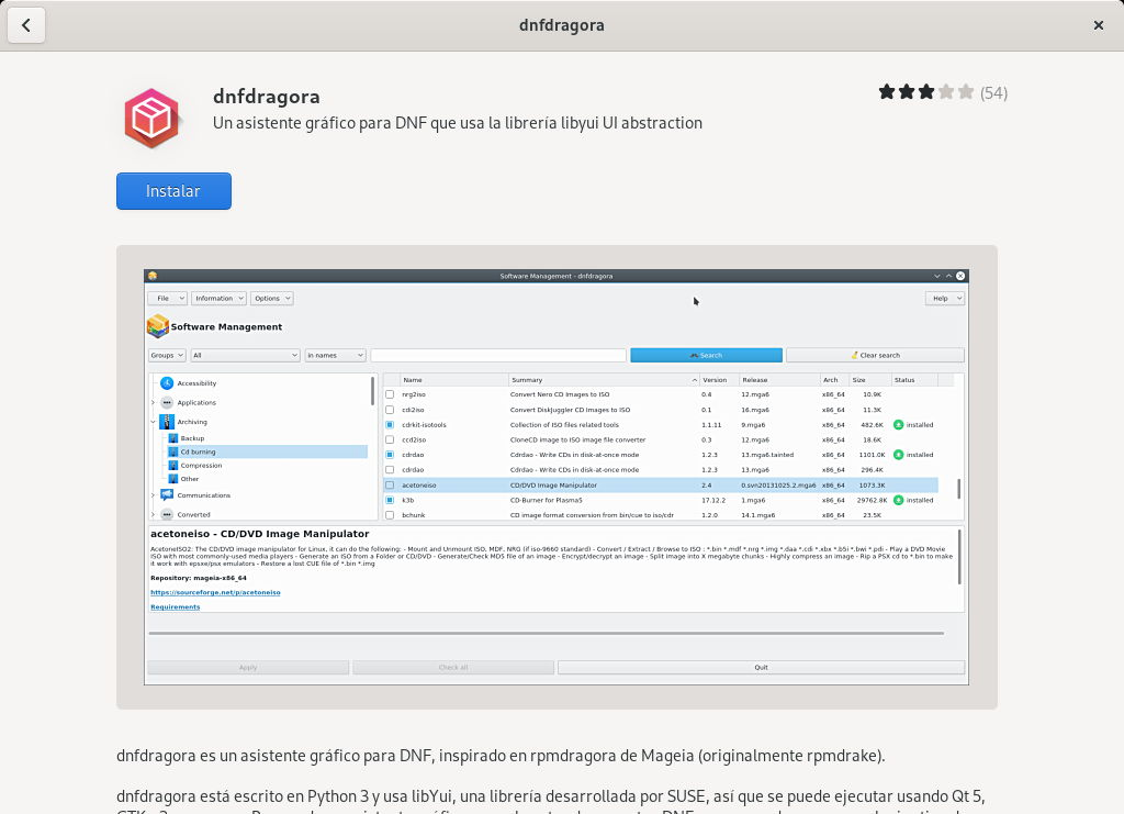 DNFDragora en GNOME Software para Fedora 33 Workstation
