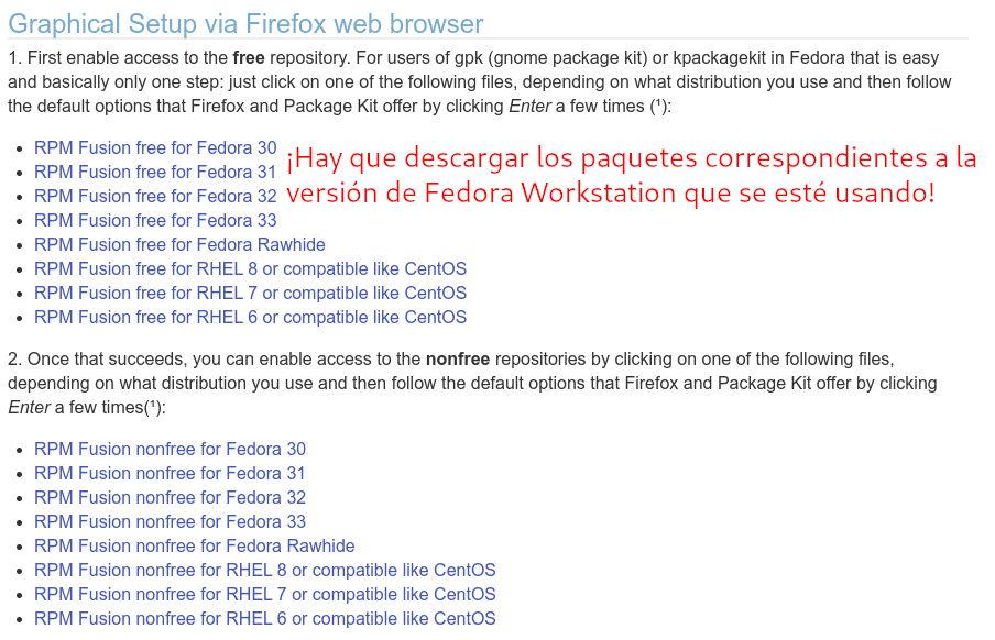 Descargar los paquetes free y non-free de RPMFusion para Fedora Workstation