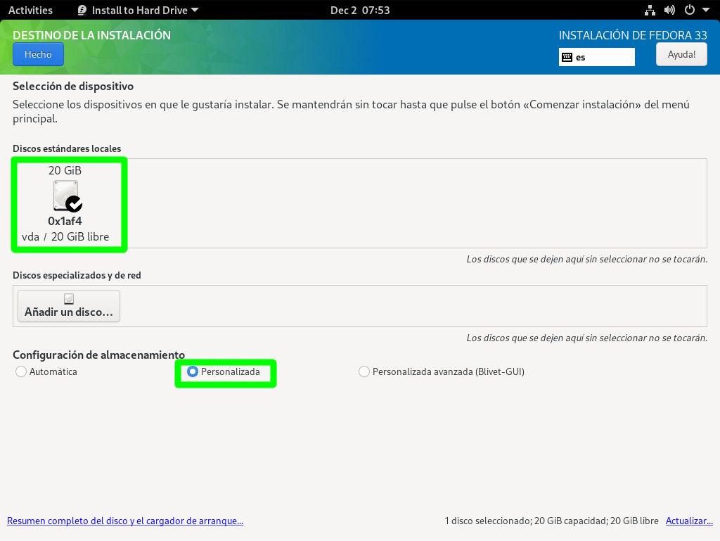 Seleccionar el particionador oficial de Fedora 33 Workstation