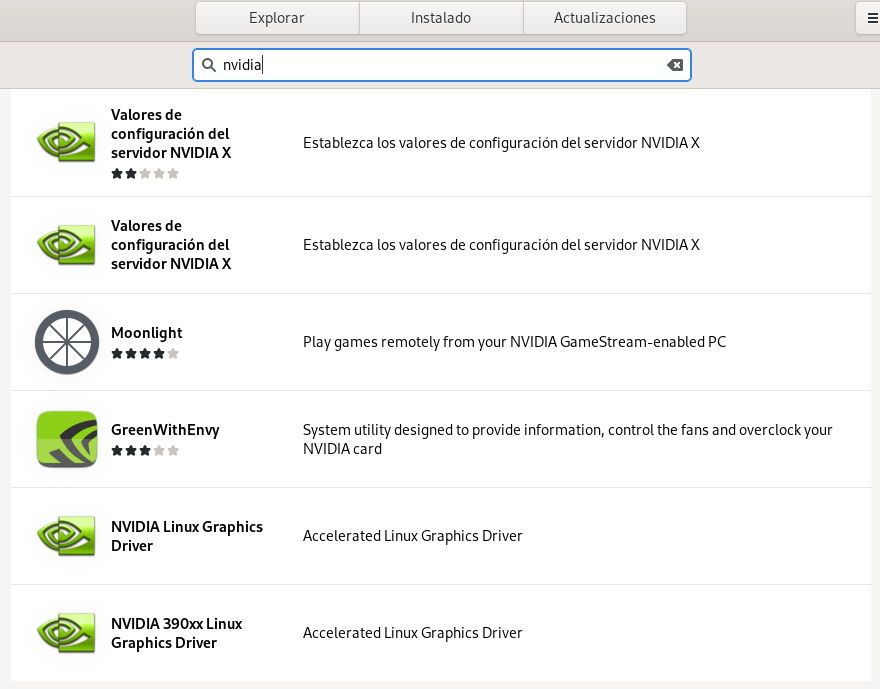 Buscando e instalando el driver oficial de NVIDIA en Fedora 33 Workstation con GNOME Software