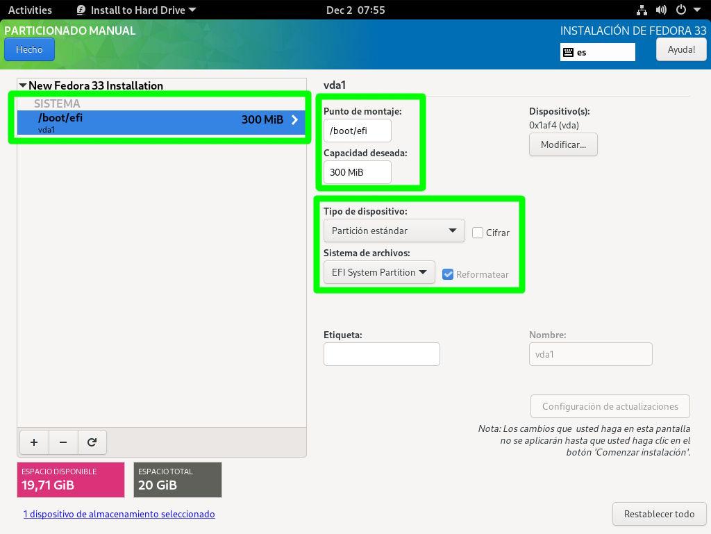 Definiendo la partición de arranque EFI en Fedora 33 Workstation