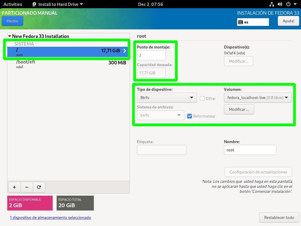 Creando la partición raíz Btrfs de Fedora 33 Workstation