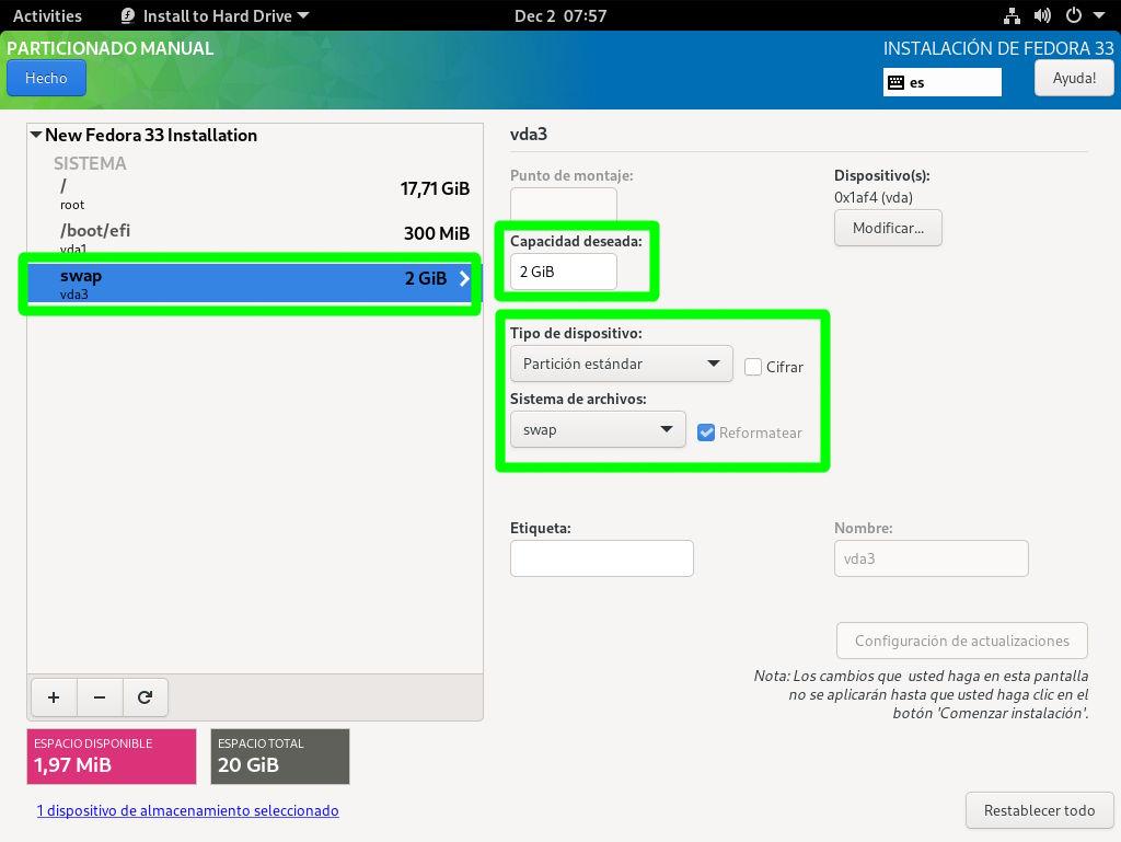Creando la partición swap en Fedora 33 Workstation