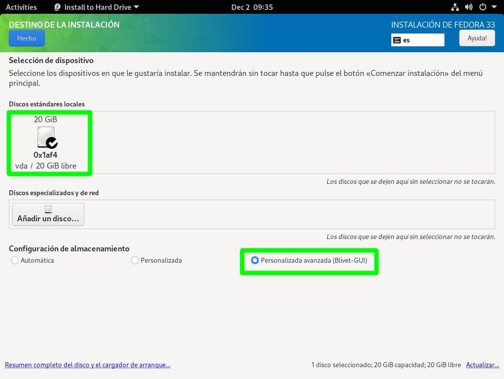 Iniciar el particionador Blivet en Fedora 33 Workstation