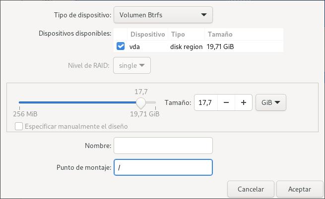 Definir partición raíz Btrfs con Blivet en Fedora 33 Workstation
