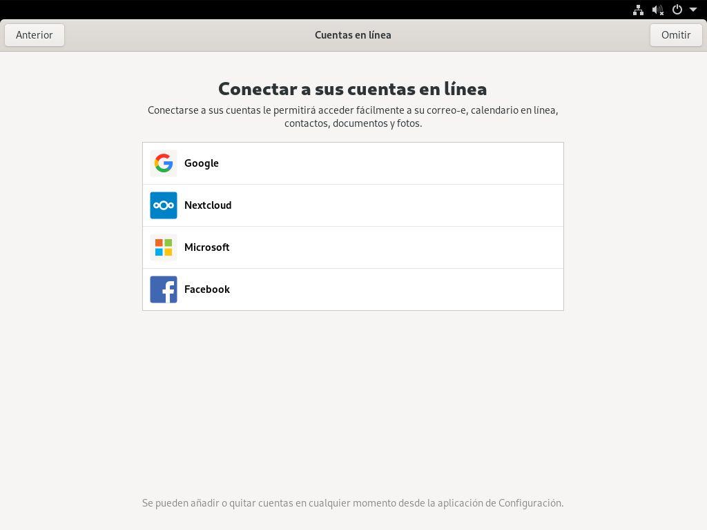 Configuración de las cuentas en línea de GNOME