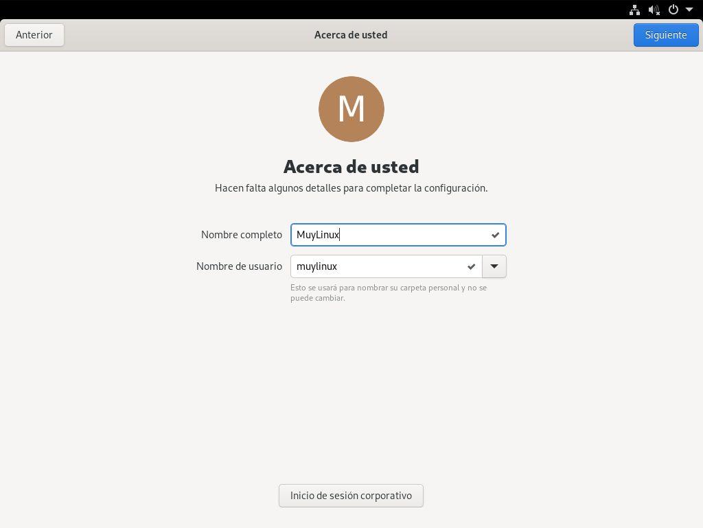 Configurar el primer usuario de Fedora 33 Workstation