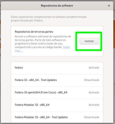 Activar los repositorios de terceros en Fedora 33 Workstation