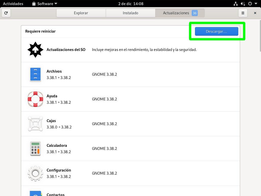 Primera actualización de Fedora 33 Workstation