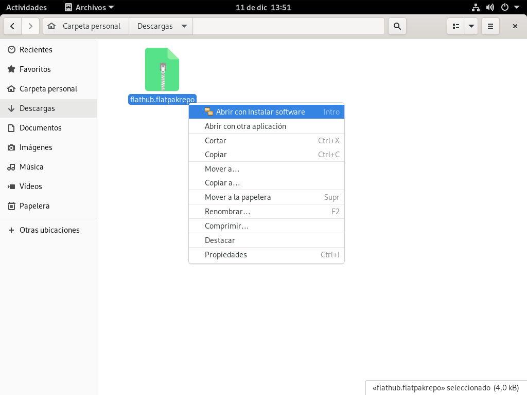 Abriendo el fichero de configuración de Flathub con GNOME Software