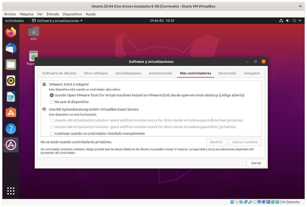 Gráficos de VMware en Ubuntu 20.04 con VirtualBox 6.1.16
