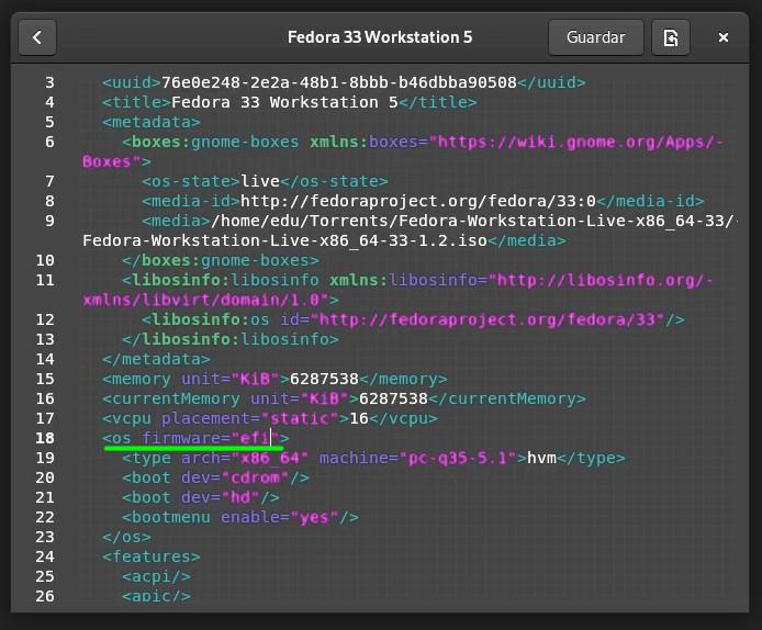 Habilitando el soporte de EFI en GNOME Boxes