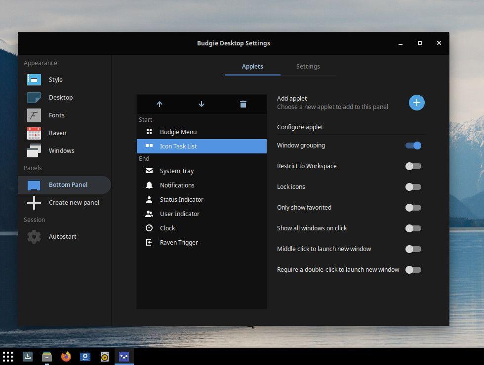 Budgie 10.5.2 icon tasklist