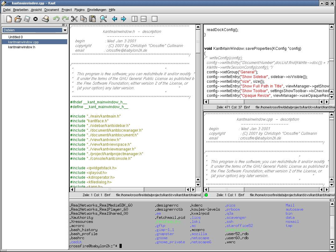 Kate en KDE 2.2 (2001)