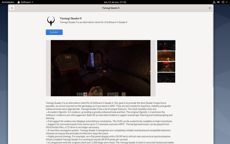 Instalando la versión Flatpak de Yamagi Quake 2 con GNOME Software