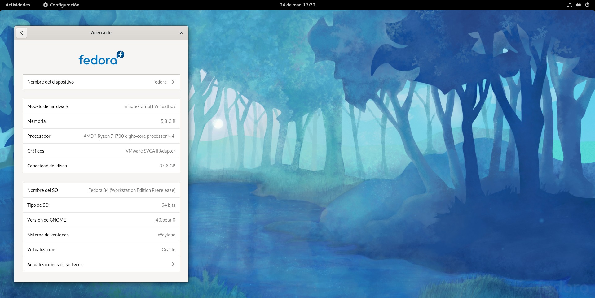 GNOME 40 en Fedora 34 beta