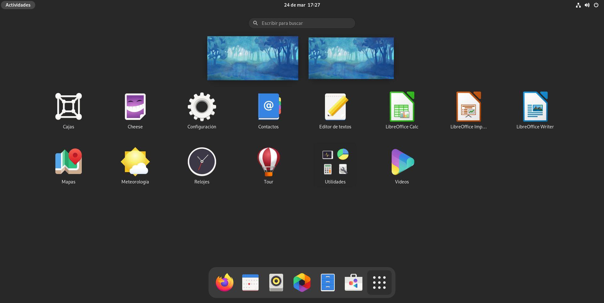 Rejilla de aplicaciones de GNOME 40