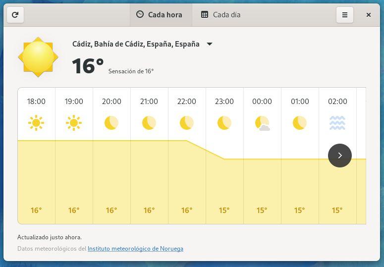 Meteorología de GNOME 40