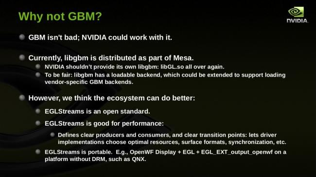 Diapositiva en la que NVIDIA expone sus razones de por qué adoptó EGLStreams como búfer de Wayland en lugar de GBM