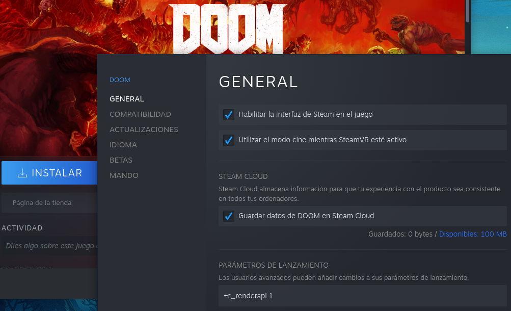 Parámetros de lanzamiento para ejecutar Doom 2016 en Linux con Steam Play/Proton