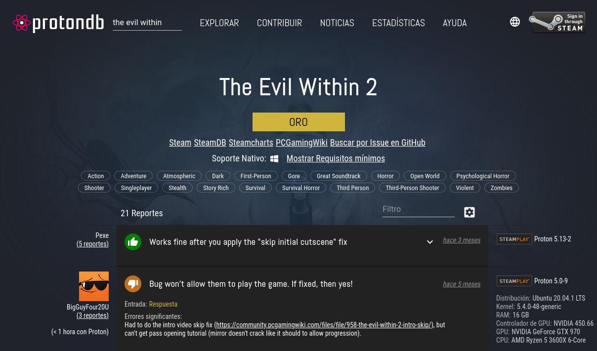 The Evil Within 2 en ProtonDB (marzo de 2021)