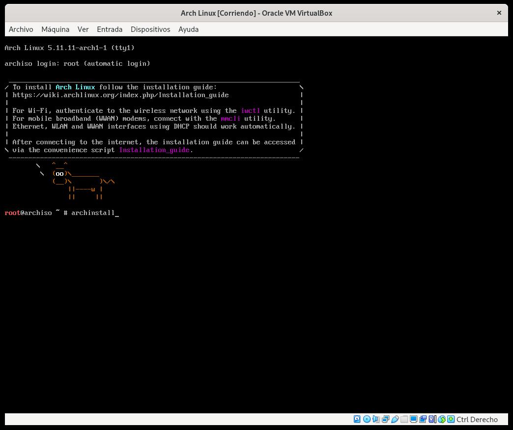 Iniciando archinstall en Arch Linux