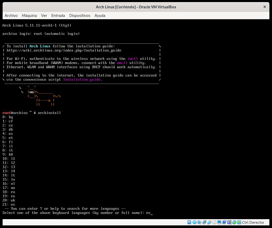 Estableciendo el idioma del teclado en Arch Linux con archinstall