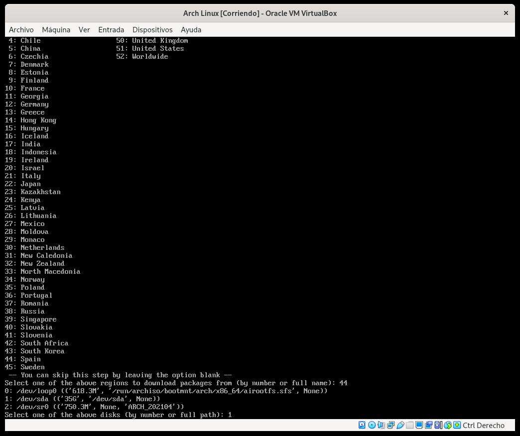 Indicando la unidad donde se va a instalar Arch Linux
