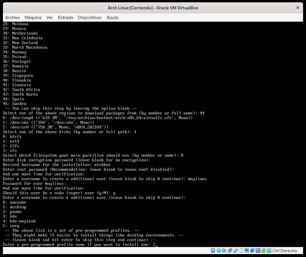 Selección del escritorio en Arch Linux con archinstall